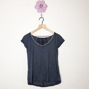 Lululemon Heathered Navy V Neck T Shirt